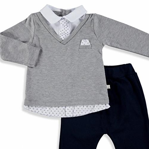 Baby Boy Tie Detailed Sweatshirt Trousers