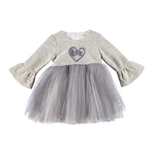 Kız Bebek Penye Astarlı Kalp Süzene Nakışlı Elbise