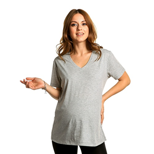 Maternity Casual V-Neck T-shirt Grey