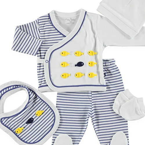 Fish Newborn Hospital Pack 5 pcs (Newborn Baby Boy Clothes Toddler Infant Set)