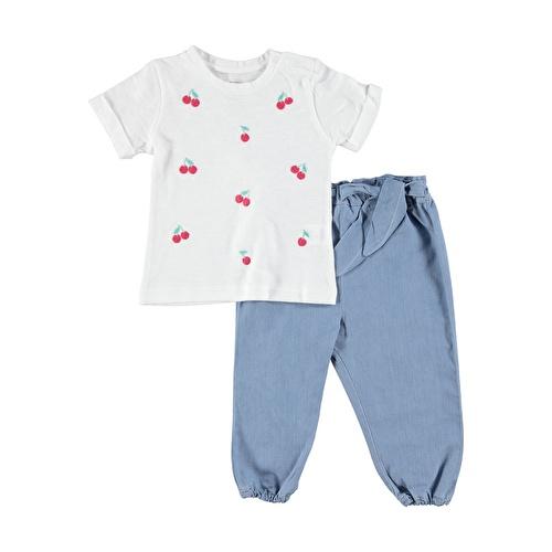 Kız Bebek Kiraz Jean Pantolon Tshirt Takım