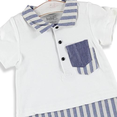 Striped Polo Neck Short Romper