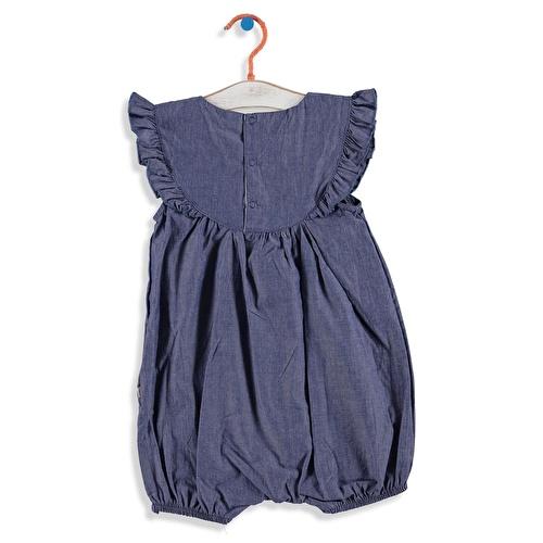 Baby Girl Embroidered Denim Short Romper