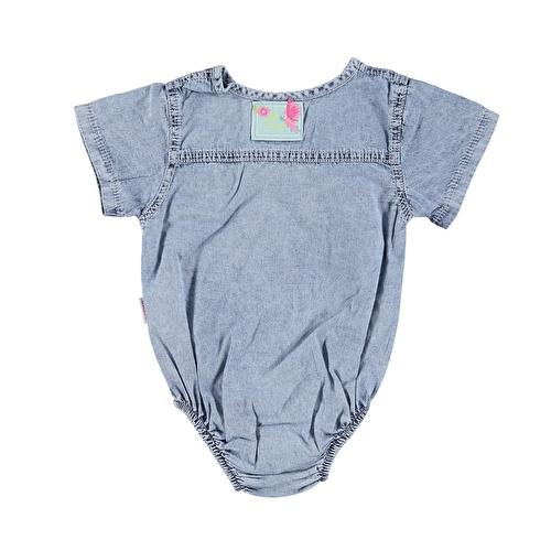 Kız Bebek Nakışlı Kısa Kol Denim Gömlek Body