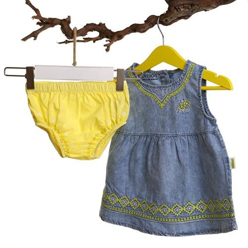 Baby Girl Embroidery Detail Pantyhose Denim Dress