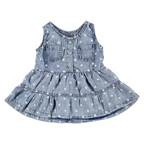 Baby Girl Flower Printed Denim Dress