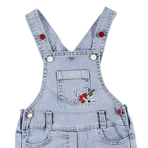Baby Girl Embroidered Short Dungarees Denim