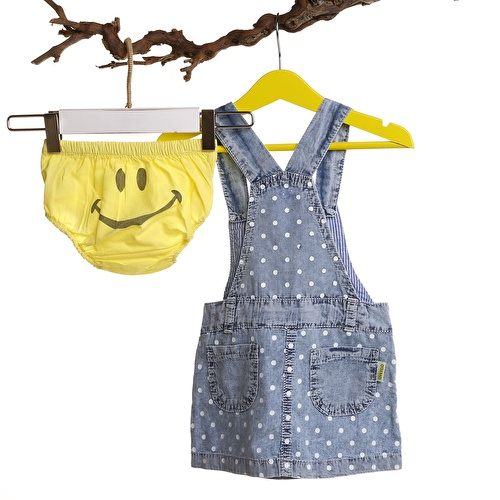 Baby Girl Smiley Face Denim Dungarees Dress