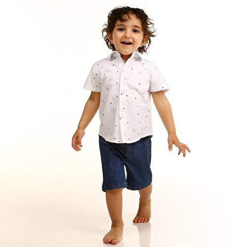Baby Boy Texture Shirt Denim Short Set