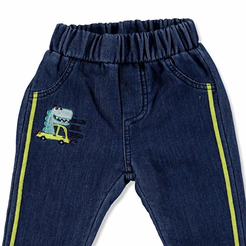 Dino Embroidered Cotton Rib Baby Pants