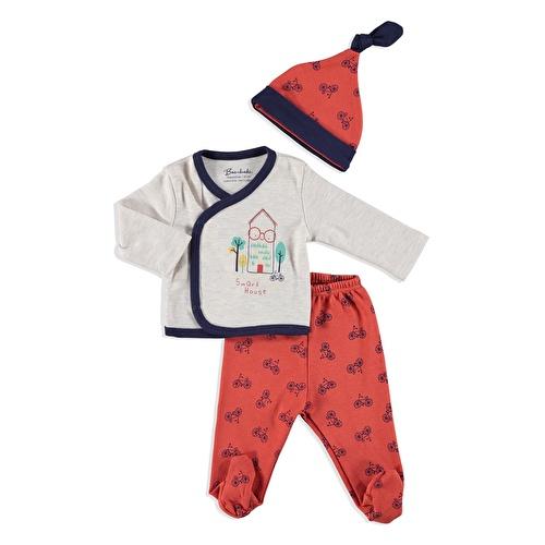 Erkek Bebek Akıllı Ev Zıbın Şapka Patikli Alt 3Lü Takım