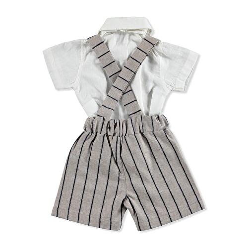 Yaz Erkek Bebek Anka Poplin Kısa Kol Reçme Polo Yaka 2li Gömlek-Şort