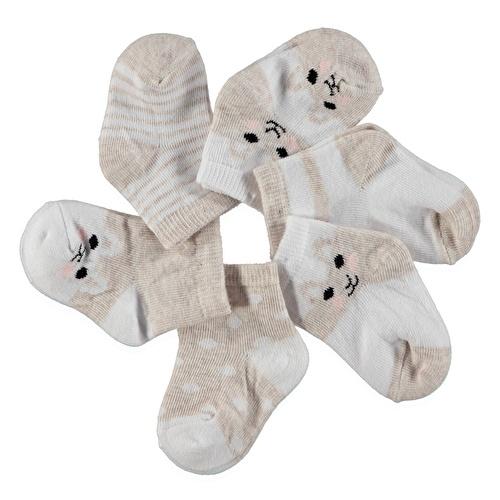 Bebek 6'Lı Soket Çorap - Pembe - Kahverengi