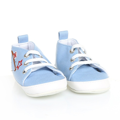 Flower Patterned Linen Baby Shoes