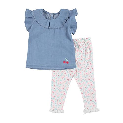 Kız Bebek Kiraz Denim Bluz Tayt Takım