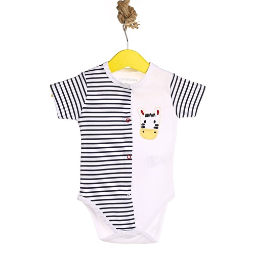 Zebra Embroidered Baby Boy Zippered Short Sleeve Bodysuit