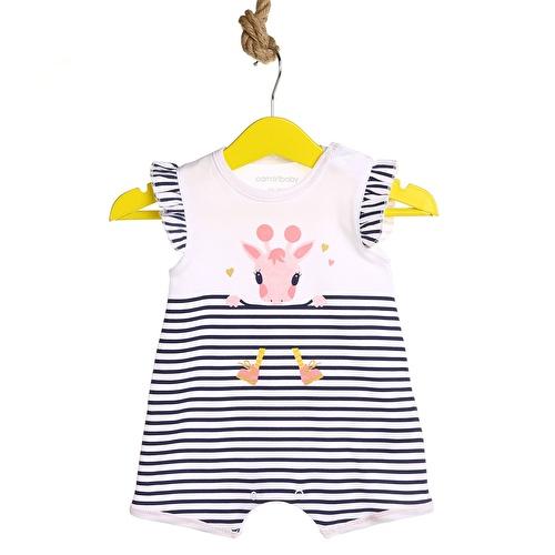 Çizgili İnterlok Kız Bebek Elbise Body