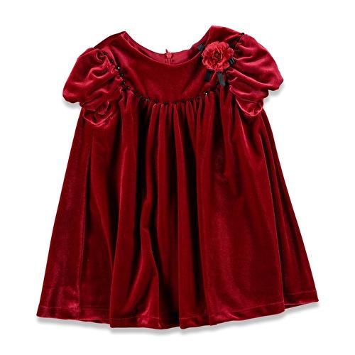 Kış Kadife Abiye Kız Bebek Elbise