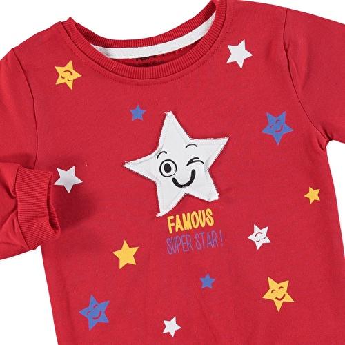 Yıldız Baskılı İki İp Erkek Bebek Sweatshirt