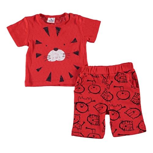 Yaz Erkek Bebek Aslan Tshirt Şort 2li Takım