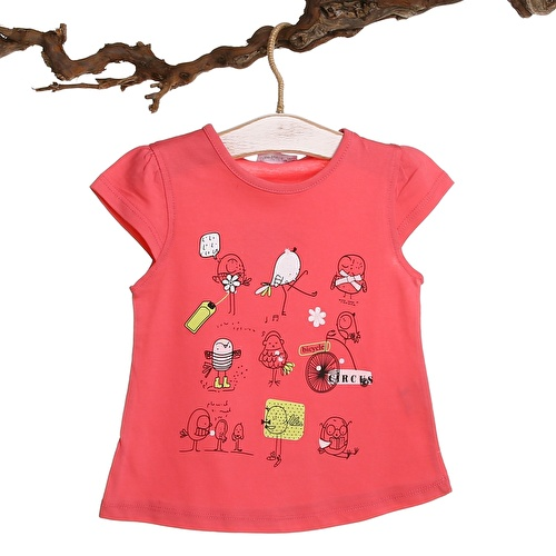Crew Neck Baby Girl Supreme Bird Printed Tshirt