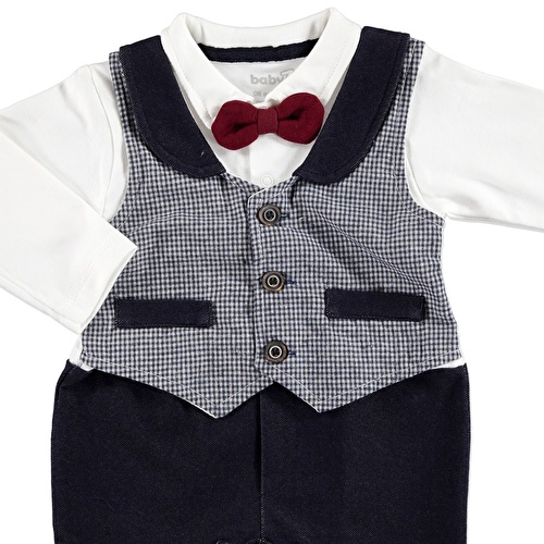 Baby Pocket Detail Button Vest Footless Romper