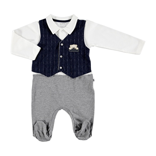 Baby Teddy Bear Embroidered Button Detail Footed Romper