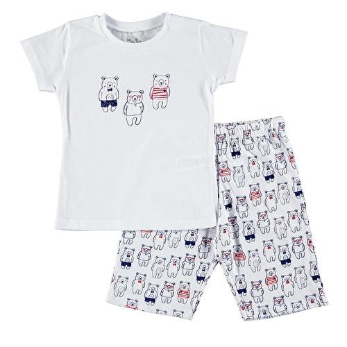 Baby Boy Teddy Bear Printed Short SleevePyjamas