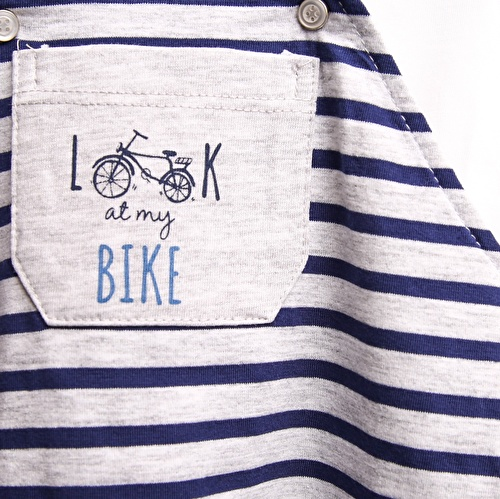 Erkek Bebek Bisiklet Tema Çizgili Salopet Tshirt 2li Takım