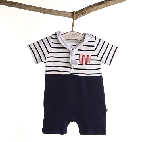 Baby Boy Sailor Duck Scarf Detailed Short Romper