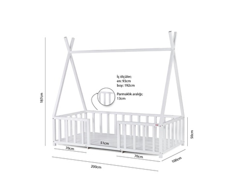 Star Montessori Toddler Cot 90x190 cm