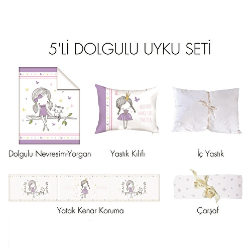 Baby All Girls Travel Cot Bed Sleep Cover 5 pcs Set