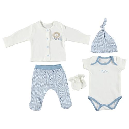 Bebek Aslancık Mavi 5li Hırkalı Hastane Çıkışı