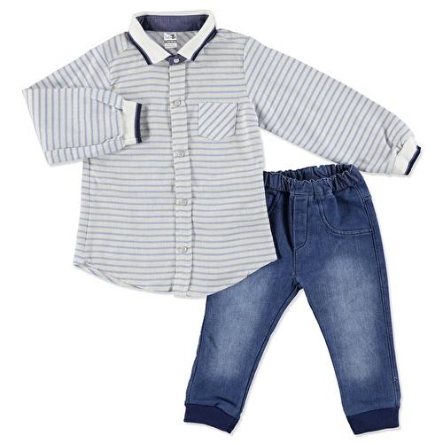 Kış Erkek Bebek Triko Yaka Ve Kol Detaylı Gömlek Body Denim Pantolon 2li Takım
