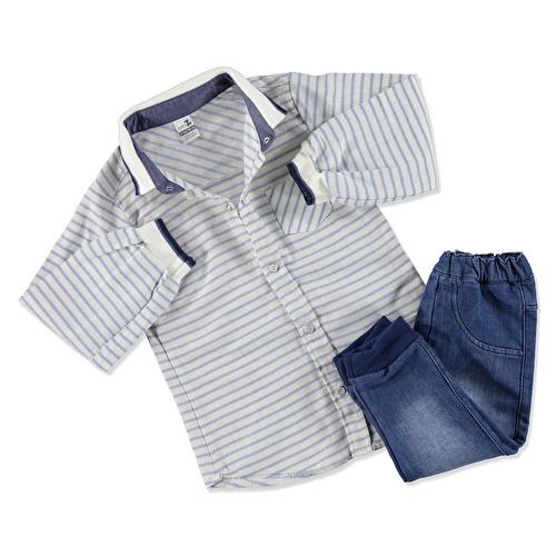 Knit Collar & Shoulder Detail Baby Shirt Bodysuit Denim Pants Set 2 pcs