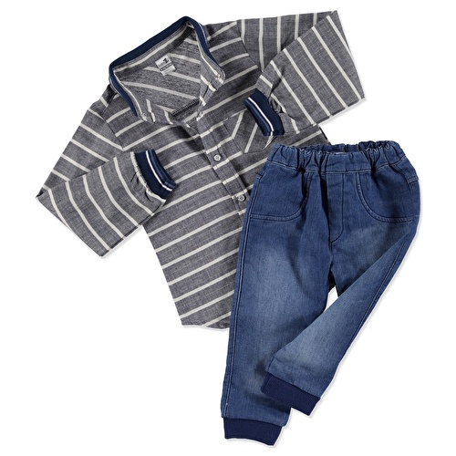Knit Collar Shirt Bodysuit Denim Pants Set 2 pcs