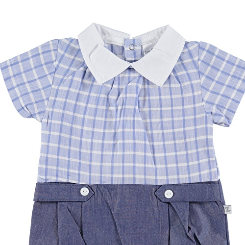 Baby Boy Polo Neck Plaid Texture Short Romper