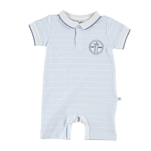 Baby Boy Marin Polo Neck Pocket Detailed Short Romper