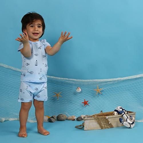 Erkek Bebek Minik Balıkçı Baskılı T-Shirt