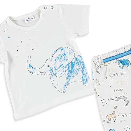 Mavi Fil Erkek Bebek Tshirt Şort 2li Takım