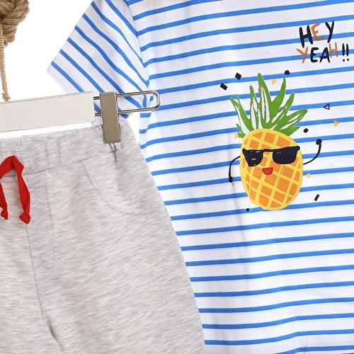 Yaz Erkek Bebek Ananas Tshirt Şort 2li Takım