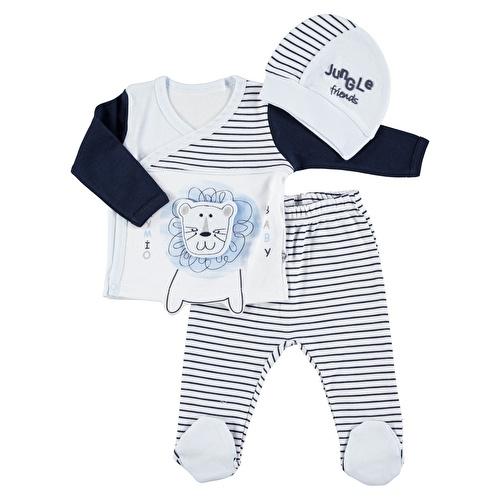 Çizgili Erkek Bebek Zıbın Patikli Alt Şapka 3lü Takım
