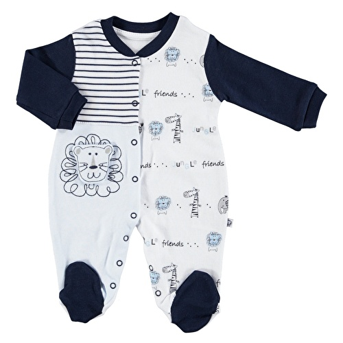 Striped Baby Boy Footed Romper