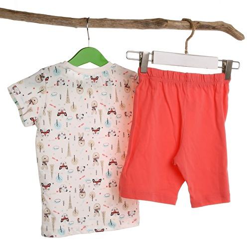 Kızılderili Hayvanlar Metraj Baskılı Bebek Pijama Takımı