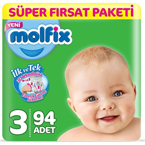 Bebek Bezi 3 Beden Midi Süper Fırsat Paketi 4-9 kg 90 adet
