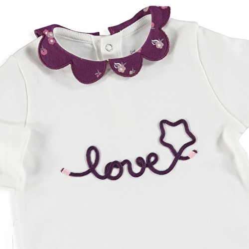 Winter Daisy Collar Baby Footed Romper