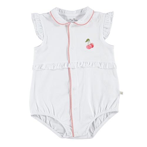 Kız Bebek Cherry Önden Düğmeli Bebe Yaka Body