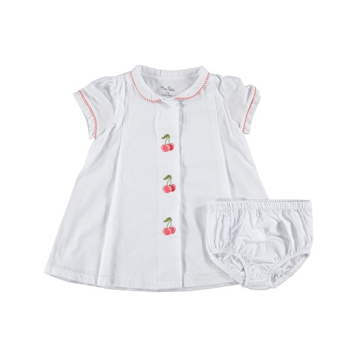 Baby Girl Cherry Petter Pan Collar Embroidered Dress