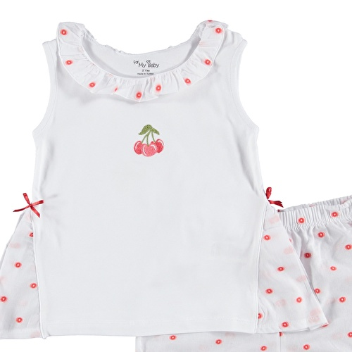 Baby Girl Cherry Embroidered Shirt Short Set