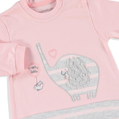 Kış Kız Bebek Sevimli Fil İnterlok Patikli Tulum